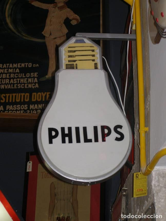 Vintage: Espectacular Luminoso Philips doble cara forma bombilla. Original años 1960s - Foto 2 - 112024927