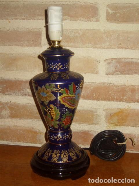 LAMPARA DE PORCELANA O CERAMICA ORIENTAL, AZUL COBALTO SOBREMESA.AÑOS 60-70. (Vintage - Lámparas, Apliques, Candelabros y Faroles)