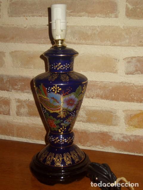 Vintage: LAMPARA DE PORCELANA O CERAMICA ORIENTAL, AZUL COBALTO SOBREMESA.AÑOS 60-70. - Foto 2 - 112153139
