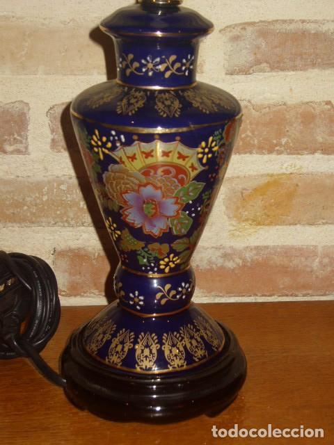 Vintage: LAMPARA DE PORCELANA O CERAMICA ORIENTAL, AZUL COBALTO SOBREMESA.AÑOS 60-70. - Foto 3 - 112153139