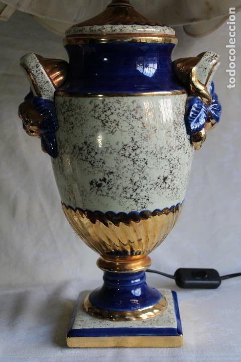 LAMPARA DE SOBREMESA ESTILO IMPERIO CERÁMICA VALENCIANA MANISES FIRMADA BONDIA (Vintage - Lámparas, Apliques, Candelabros y Faroles)