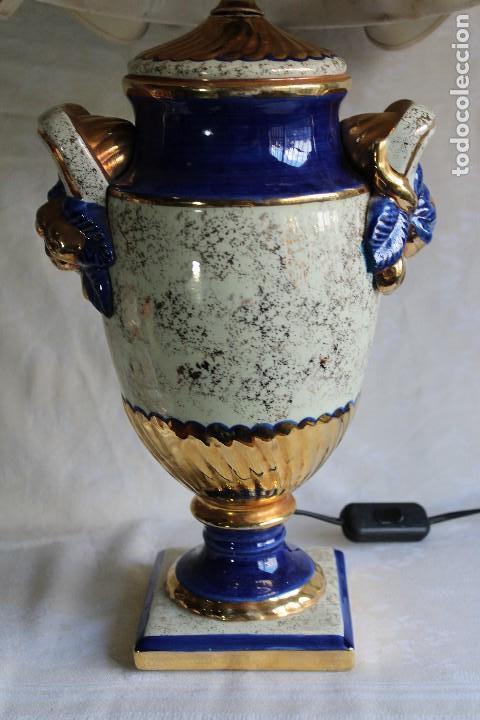 Vintage: LAMPARA DE SOBREMESA ESTILO IMPERIO CERÁMICA VALENCIANA MANISES FIRMADA BONDIA - Foto 4 - 114469447