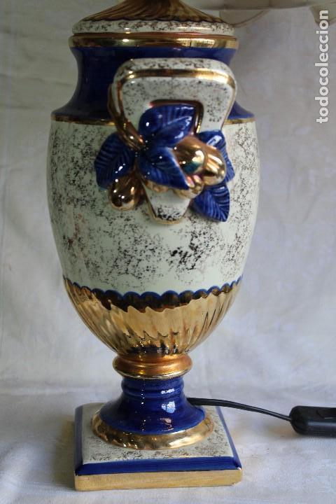 Vintage: LAMPARA DE SOBREMESA ESTILO IMPERIO CERÁMICA VALENCIANA MANISES FIRMADA BONDIA - Foto 7 - 114469447