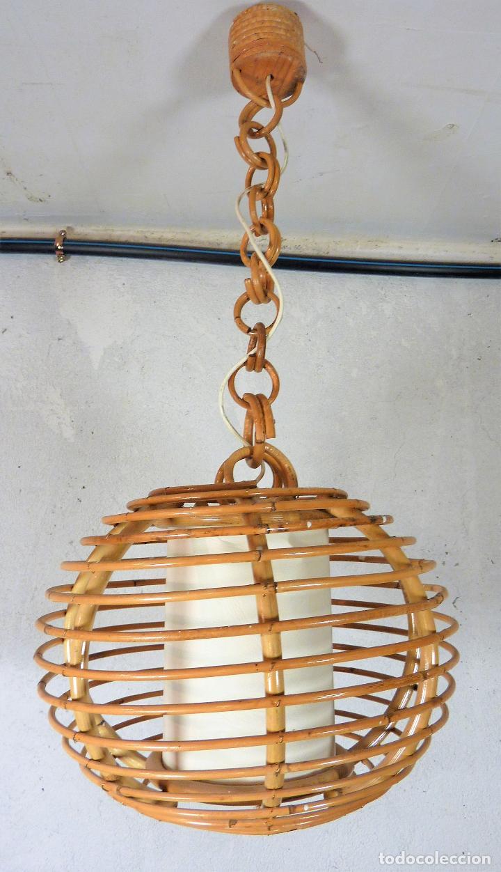Lámpara de o techo bambú en de rattánvin caña Verkauft v8m0wyNnO