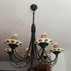 Vintage: LAMPARA DE HIERRO Y PLATOS DE CERAMICA. Lote 116435867