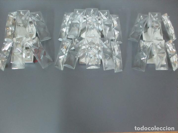 Vintage: Juego de Apliques - Lámpara Aplique + Pareja Apliques Kinkeldey Leuchten - Cristal tallado - Años 60 - Foto 2 - 116544963