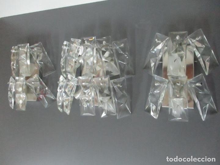 Vintage: Juego de Apliques - Lámpara Aplique + Pareja Apliques Kinkeldey Leuchten - Cristal tallado - Años 60 - Foto 5 - 116544963