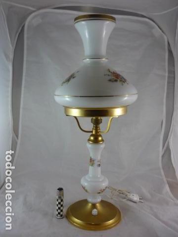 Vintage: Preciosa Lampara Opalina y Laton - 49cm - Años 50 - Foto 3 - 116619395