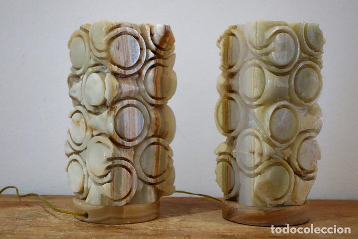 formas geométricas vintage años 60 de alabastro mesa de de círculos Pareja lámparas wO0vNnPym8