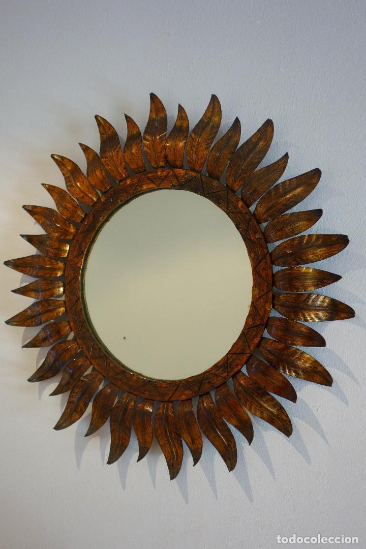 espejo vintage tipo sol metal dorado al pan de - Comprar Lámparas ...