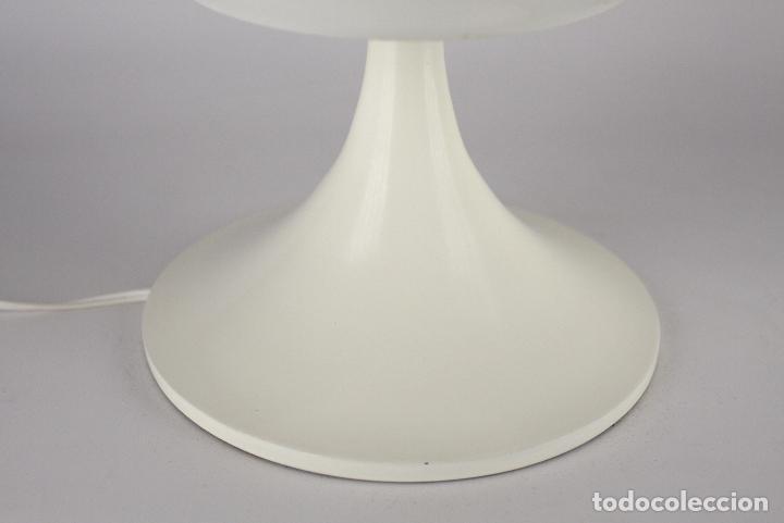 Vintage: Lampara sobremesa TRAMO Joan Antoni Blanc seta tulip blanco cristal vintage retro España 60s - Foto 5 - 117512087