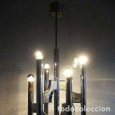 Vintage: LAMPARA DE TECHO CROMO AÑOS 70 ESTILO SCIOLARI-VINTAGE. Lote 117873531