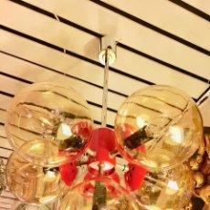 Vintage: LAMPARA TECHO SPUTNIK ROJA MARCA KAISER-SPACE AGE . Lote 117873823