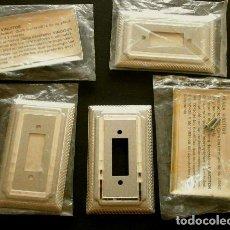 Vintage: LOTE 5 PLACAS DECORATIVAS VINCITOR - EMBELLECEDORES PARA INTERRUPTORES O ENCHUFES LUZ (AÑOS 60-70). Lote 118307587