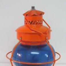 Vintage: FAROL NARANJA CON CRISTAL AZUL. Lote 118580435
