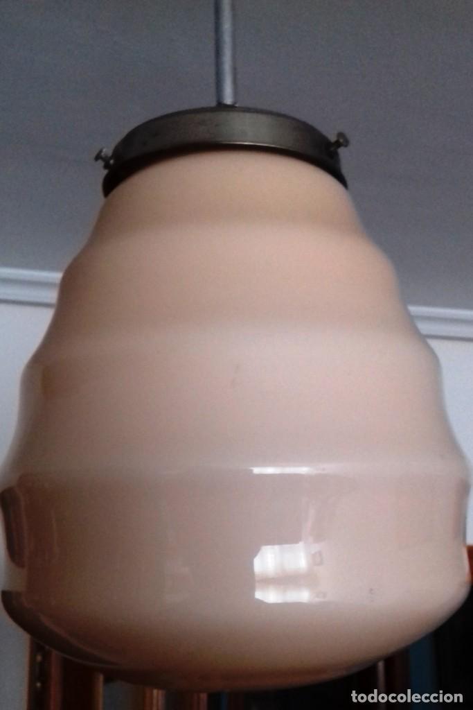 Vintage: Lámpara de techo de opalina rosa. Original vintage años 60/70. - Foto 7 - 118671299