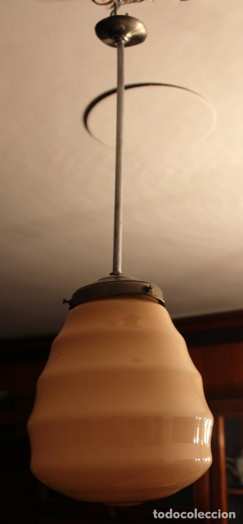 Vintage: Lámpara de techo de opalina rosa. Original vintage años 60/70. - Foto 25 - 118671299