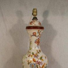 Vintage: LAMPARA CHINA DE SOBREMESA EN CERAMICA CON PIE DE MARMOL. Lote 118758807