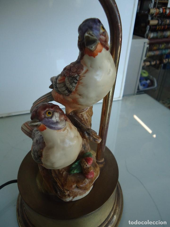 LAMPARA CON PÁJAROS (Vintage - Lámparas, Apliques, Candelabros y Faroles)
