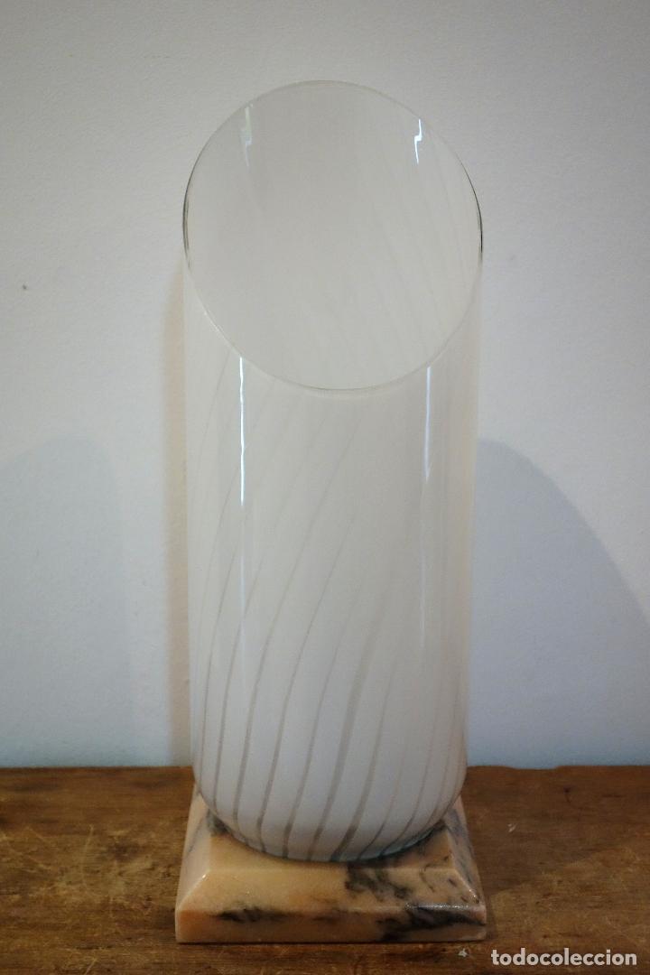 Vintage: Lámpara de mesa vintage en cristal de Murano base mármol rosa portugués años 60 70 Venini Vistosi - Foto 3 - 120035287