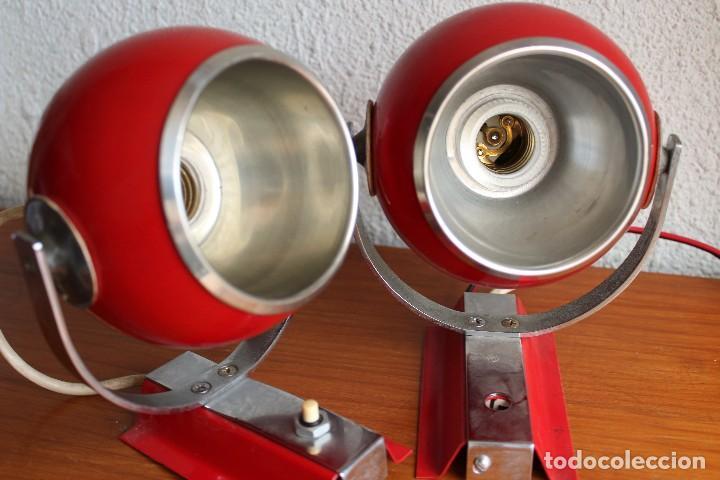 FOCOS APLIQUES FASE EYEBALL ORIENTABLES SPACE AGE EN ROJO CROMO RETRO VINTAGE (Vintage - Lámparas, Apliques, Candelabros y Faroles)