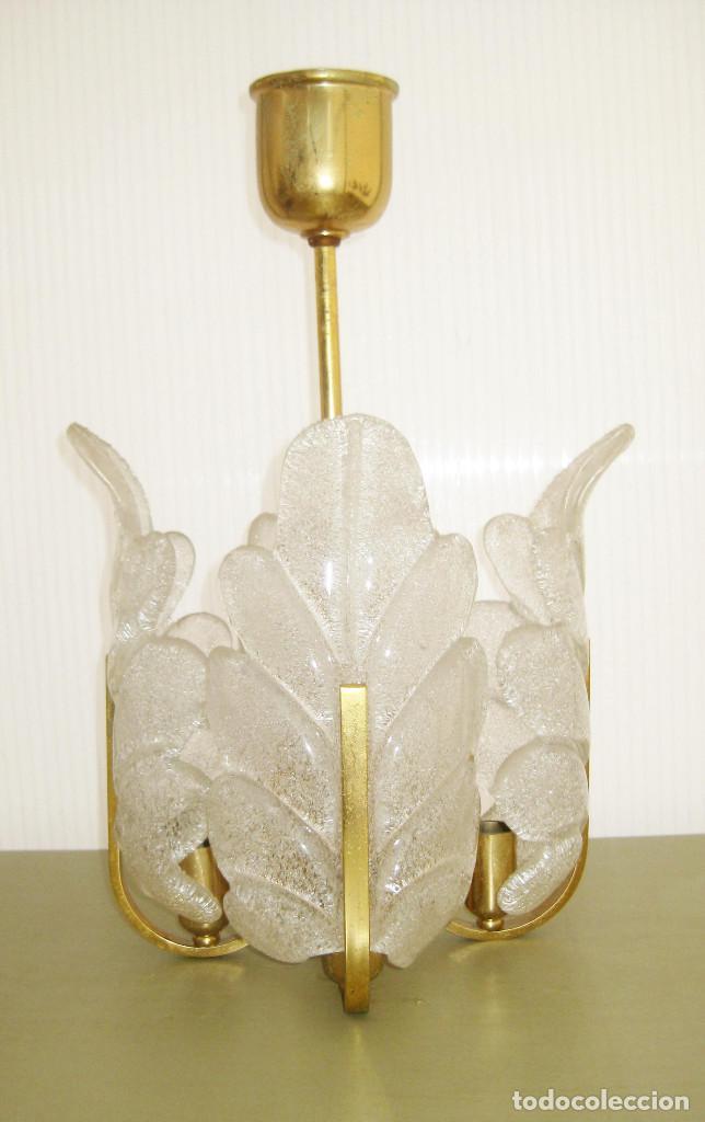 MUY RARA LAMPARA PEQUEÑA VINTAGE CRISTAL ORREFORS Y LATON ESTILO FAGERLUND (Vintage - Lámparas, Apliques, Candelabros y Faroles)