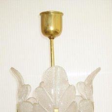Vintage: MUY RARA LAMPARA PEQUEÑA VINTAGE CRISTAL ORREFORS Y LATON ESTILO FAGERLUND. Lote 120460227