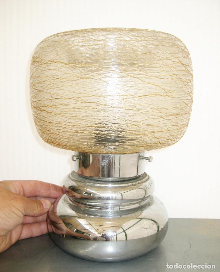 LAMPARA VINTAGE METAL CROMADO Y CRISTAL LIADO MURANO TIPO SCIOLARI (Vintage - Lámparas, Apliques, Candelabros y Faroles)