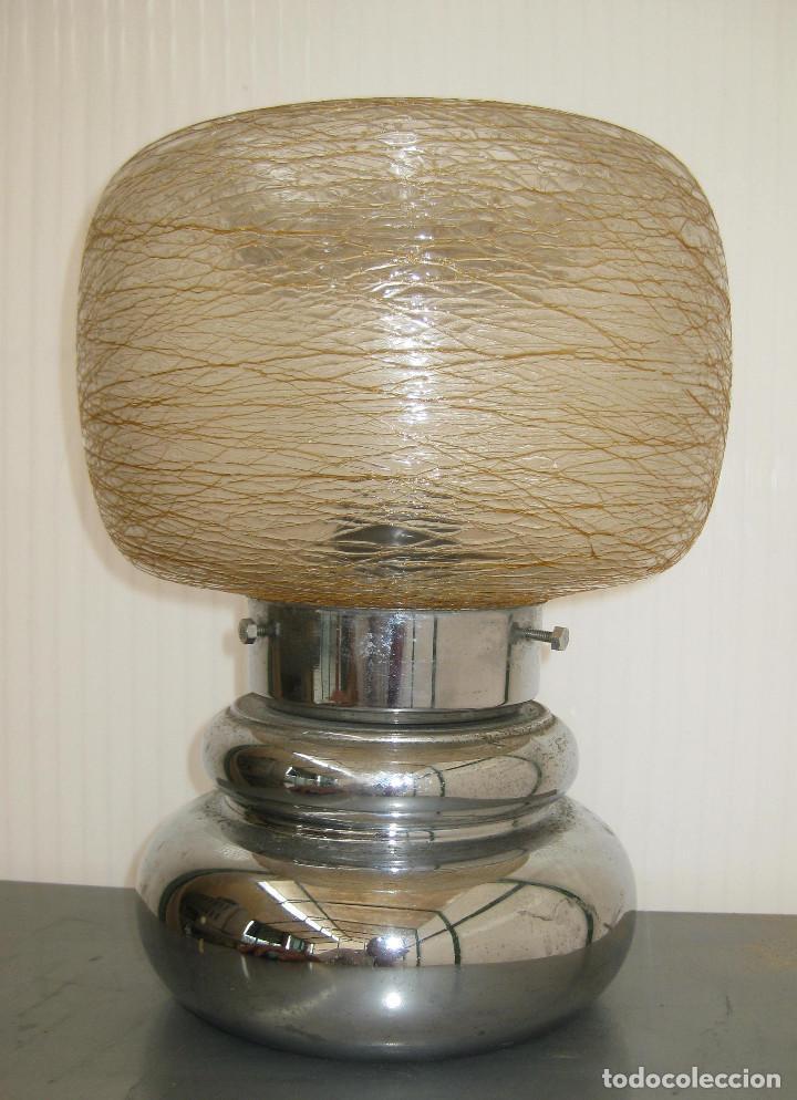 Vintage: LAMPARA VINTAGE METAL CROMADO Y CRISTAL LIADO MURANO TIPO SCIOLARI - Foto 2 - 120461911