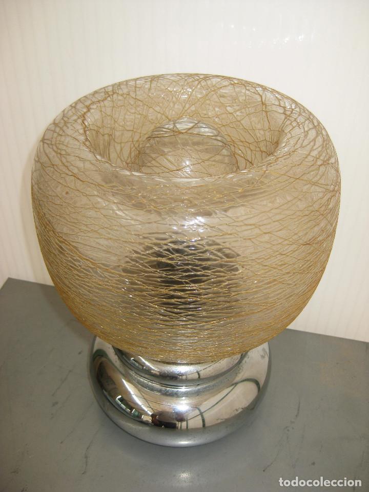 Vintage: LAMPARA VINTAGE METAL CROMADO Y CRISTAL LIADO MURANO TIPO SCIOLARI - Foto 3 - 120461911