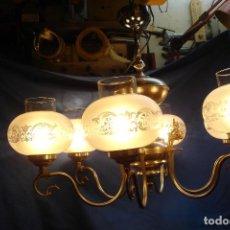 Vintage: GRAN LÁMPARA PLATEADA CON 6 TULIPAS DE CRISTAL - VINTAGE AÑOS 70/80 - FUNCIONA. Lote 121287267