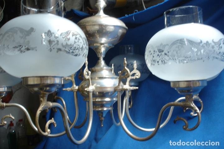 Vintage: GRAN LÁMPARA PLATEADA CON 6 TULIPAS DE CRISTAL - VINTAGE AÑOS 70/80 - FUNCIONA - Foto 8 - 121287267