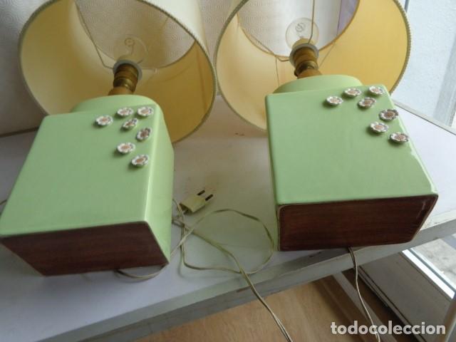 Vintage: PAREJA DE 2 ANTIGUAS (AÑOS 60 RETRO VINTAGE), Y BONITS LAMPARAS DE BUENA PORCELANA FUNCIONANDO - Foto 6 - 121840651