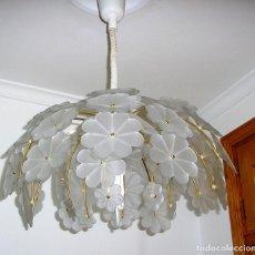 Vintage: LAMPARA DE TECHO SUBE Y BAJA FLORES DE CRISTAL.. Lote 121934455