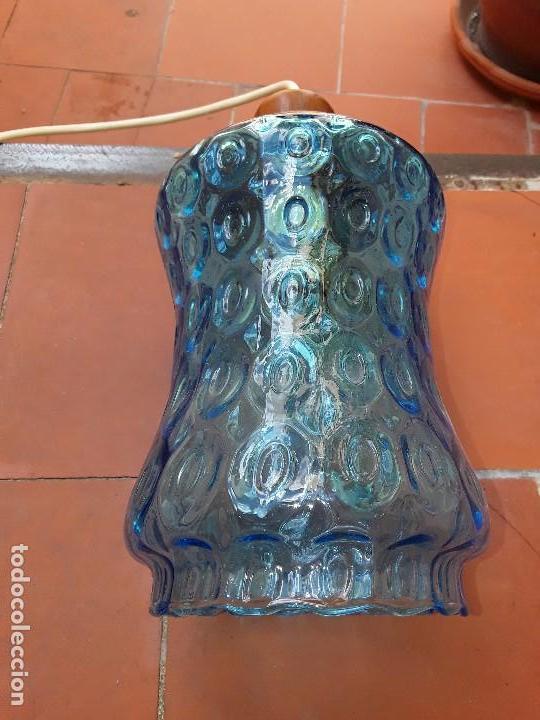 Vintage: Lampara de cristal azul tallado - Foto 2 - 122190499