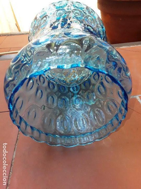 Vintage: Lampara de cristal azul tallado - Foto 3 - 122190499