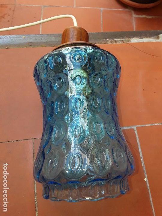 Vintage: Lampara de cristal azul tallado - Foto 4 - 122190499