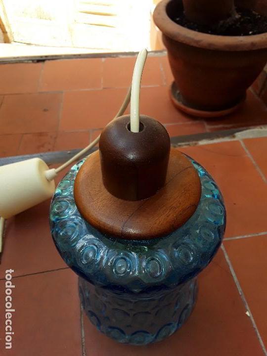 Vintage: Lampara de cristal azul tallado - Foto 5 - 122190499