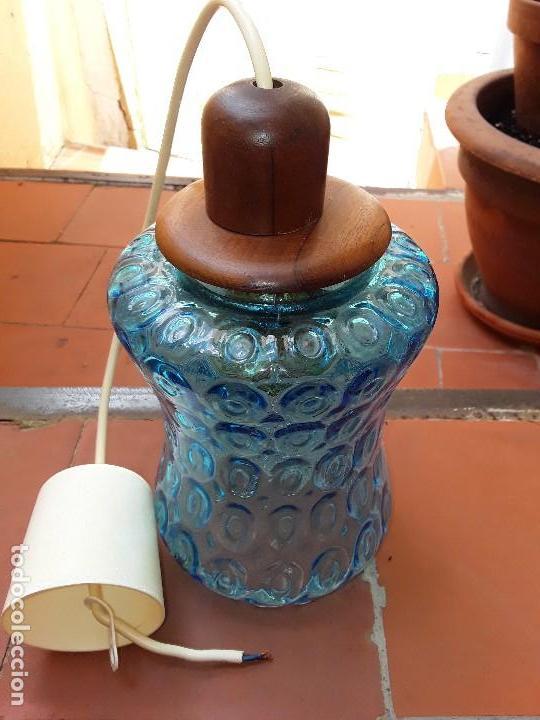 LAMPARA DE CRISTAL AZUL TALLADO (Vintage - Lámparas, Apliques, Candelabros y Faroles)