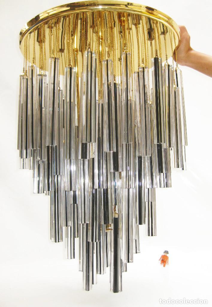 ESPECTACULAR LAMPARA CASCADA ANTIGUA VINTAGE ORIGINAL SIN USO VENINI VETRI MURANO (Vintage - Lámparas, Apliques, Candelabros y Faroles)