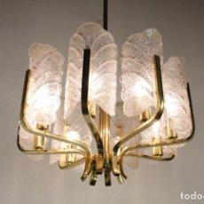 Vintage: LAMPARA TECHO CARL FAGERLUND ORREFORS CRISTAL RUGIADO LATÓN CHANDELIER VINTAGE SUECIA 60S. Lote 122338643