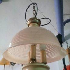Vintage: LAMPARA ANTIGUA DE CRISTAL ROSA VINTAGE SHABBY CHIC. Lote 122566879