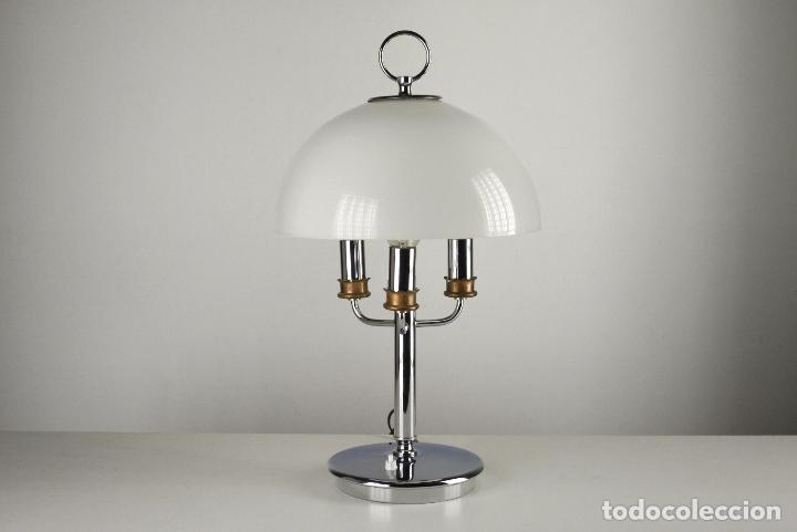 Vintage: lámpara sobremesa Lyma metal cromado metacrilato vintage retro space age España años 70 - Foto 5 - 124590027