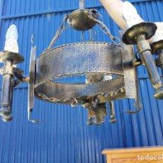 Vintage: LAMPARA DE HIERRO DE FORJA RUSTICA. Lote 125030995