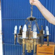 Vintage: LAMPARA DE HIERRO DE FORJA RUSTICA. Lote 125031091