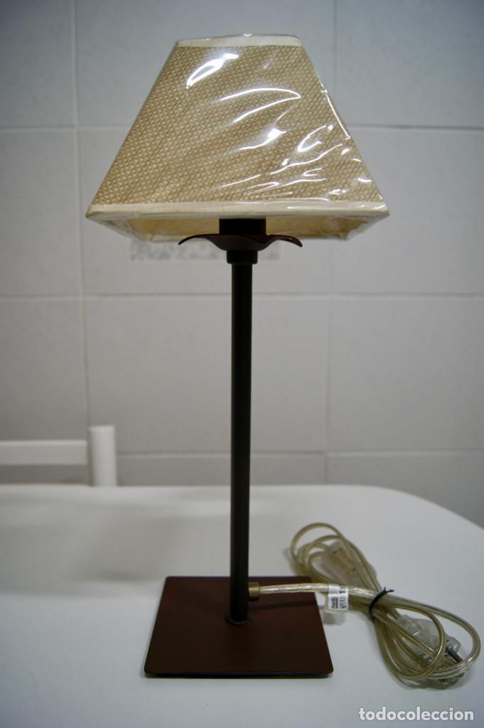 pantalla marrón con sobremesa Lámpara forja EWbeH29IDY