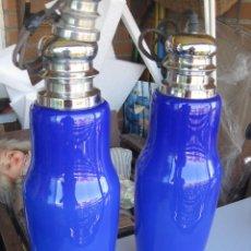 Vintage: ANTIGUAS LAMPARAS DE TECHO EN CRISTAL AZUL . Lote 128312259