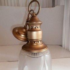 Vintage: LAMPARA TECHO BRONCE Y TULIPA TIPO BARCO. Lote 128418935