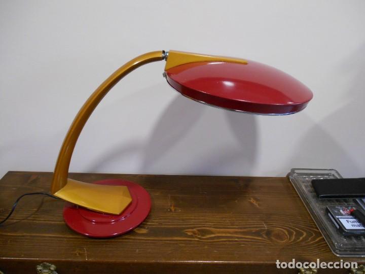 PRECIOSA LAMPARA ANTIGUA FASE BOOMERANG 2000 EN OCRE Y BURDEOS CON DIFUSOR COMPLETA VINTAGE DISEÑO (Vintage - Lámparas, Apliques, Candelabros y Faroles)