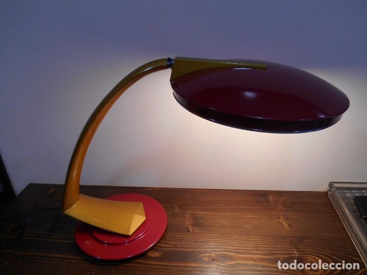 Vintage: PRECIOSA LAMPARA ANTIGUA FASE BOOMERANG 2000 EN OCRE Y BURDEOS CON DIFUSOR COMPLETA VINTAGE DISEÑO - Foto 2 - 128461079